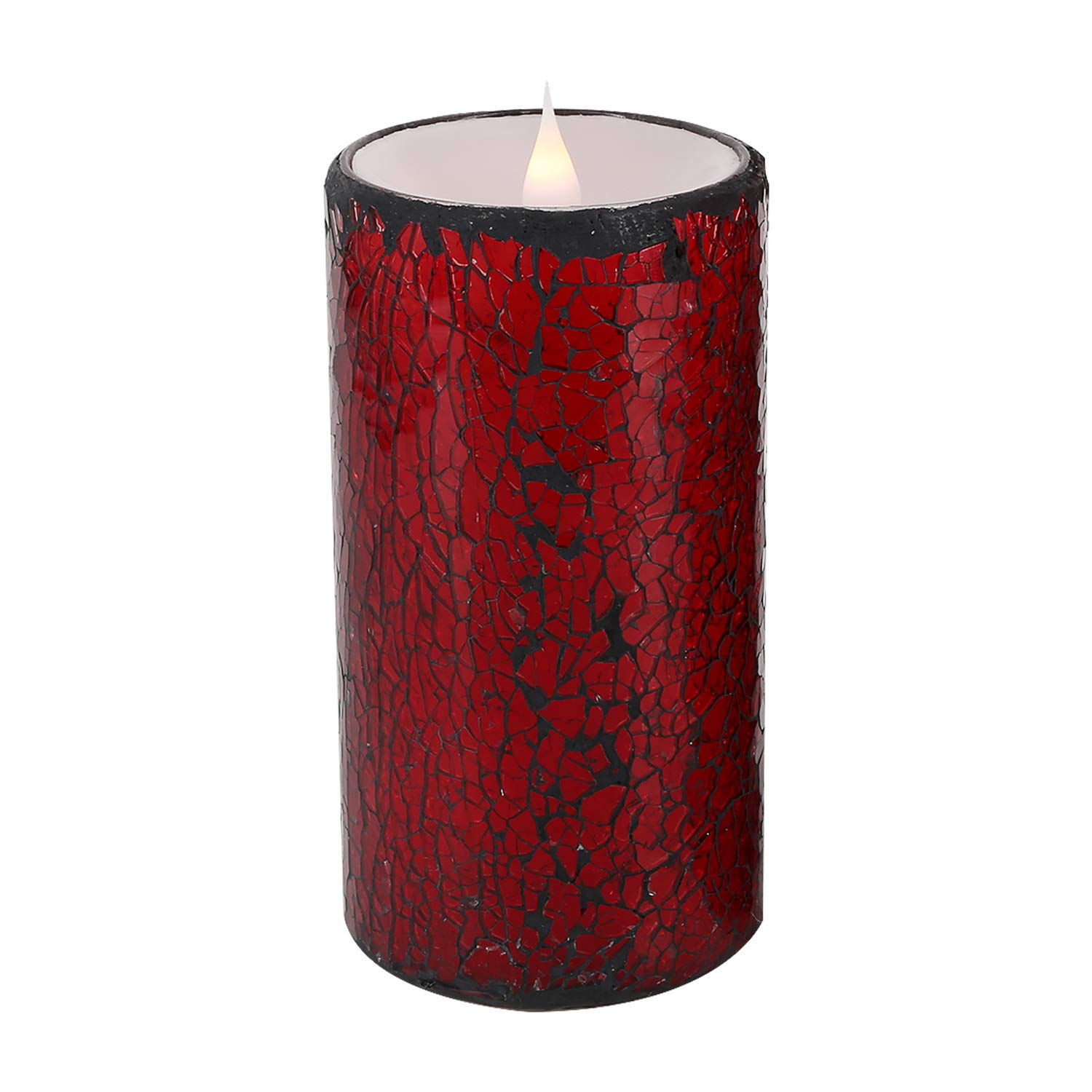 LED Flameless Candle with 1 Remote, 6''Hx3''D Mosaic Glass Battery Candle with Built-in 4/8 H Timer and Realistic Dancing LED Flames, Powered by 2 C Batteries (NOT Included) for Over 300 Hours (Red)