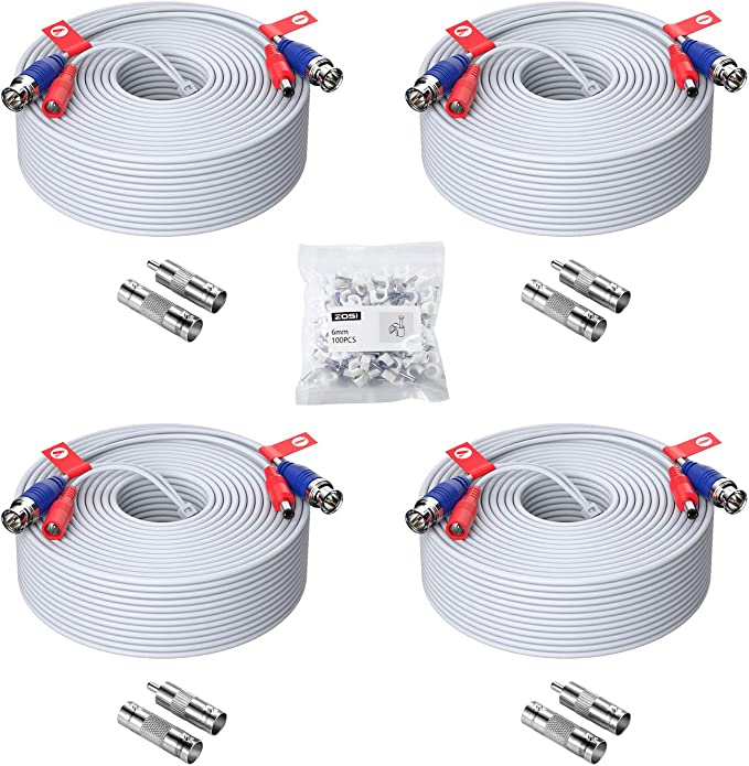 Amazon.com : ZOSI 4 Pack 150ft (45 Meters) All-in-One Video Power Cable, BNC Extension Surveillance Camera Cables for Video Security DVR Camera Systems (Included 4X BNC Connectors and 4X RCA Adapters)-White Color : Electronics