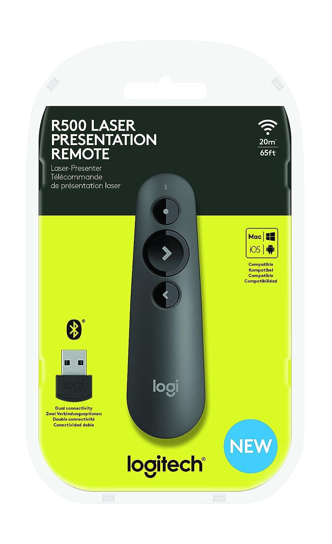 Batterie intelligente avec une autonomie de 12 mois Gris Compatibilit/é universelle Port/ée de 20 m Personnalisable Logitech R500 T/él/écommande de pr/ésentation laser USB