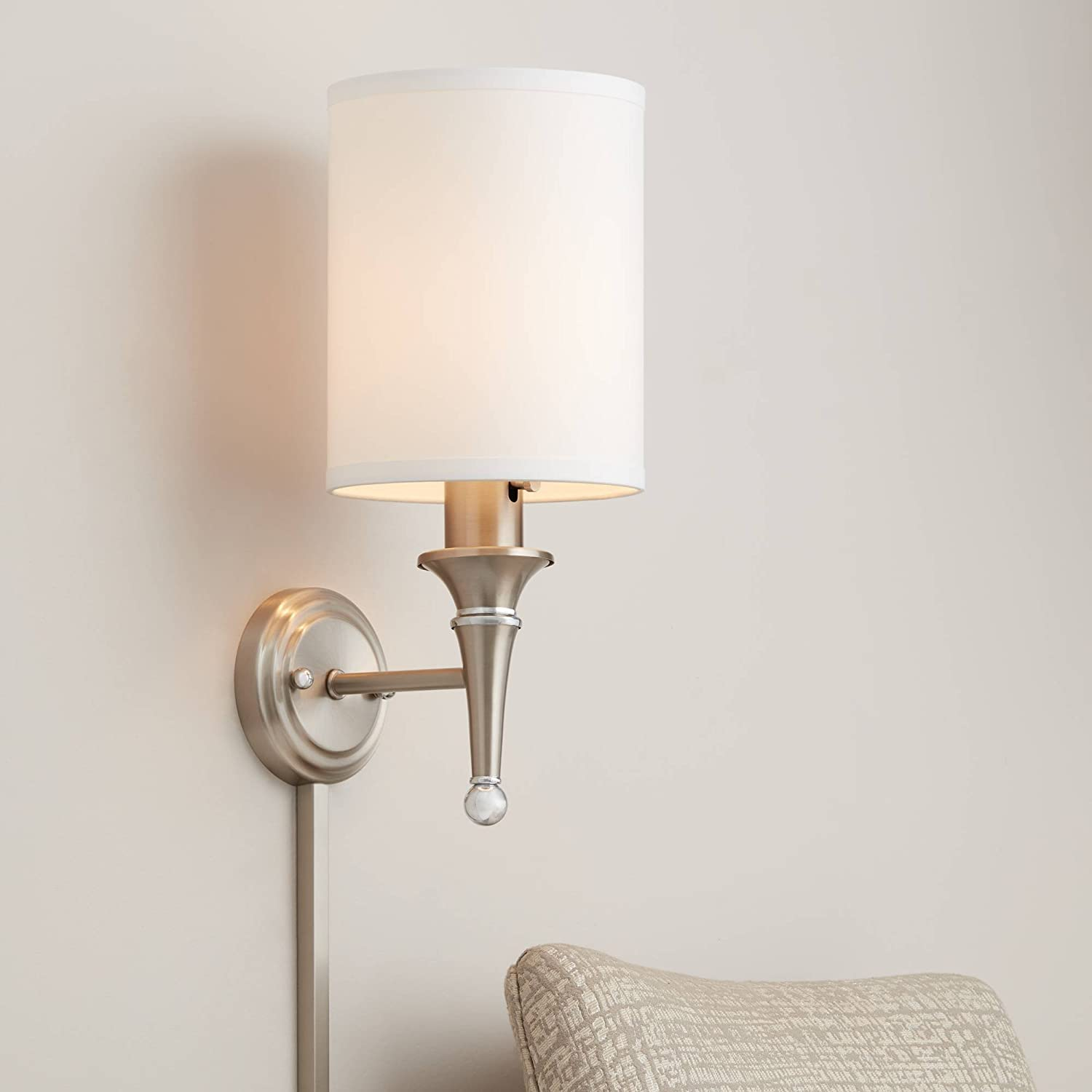Braidy Modern Corded Wall Lamp Brushed Nickel Chrome Metal Plug-in Light Fixture White Faux Silk Cylinder Shade Bedroom Bedside House Reading Living Room Home Hallway Dining - Possini Euro Design