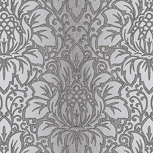 Manhattan Comfort NWTX34822 Evanston Damask Textured Wallpaper, Dark Gray, Black, Grey, Metallic Silver ()