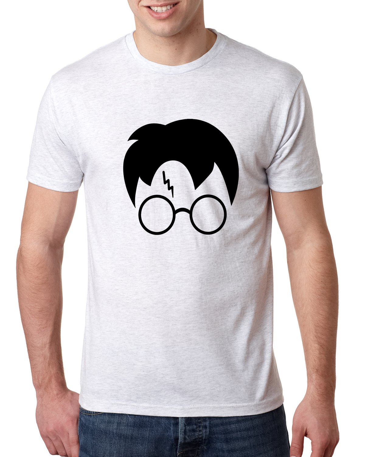 Harry Potter Glasses Lightning Bolt Scar Hair | Mens Pop Culture Premium Tri Blend Tee Graphic T-Shirt, Heather White Black, Large by Wild Bobby