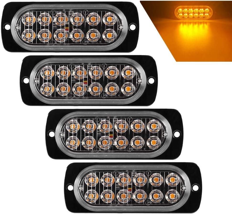 Teguangmei 4 Luces de Emergencia Ultrafinas 12 LED ámbar, coche Luces Estroboscópicas Peligrosas Intermitentes, Luces Anormales Delanteras y Traseras, Remolques de Caravana Para Camiones de 12-24V