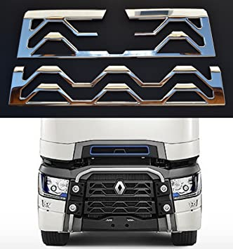 24/7Auto Parrilla Delantera 3D 2 Piezas Decoraciones para Renault T Camiones Acero Inoxidable Accesorio Cromado: Amazon.es: Coche y moto