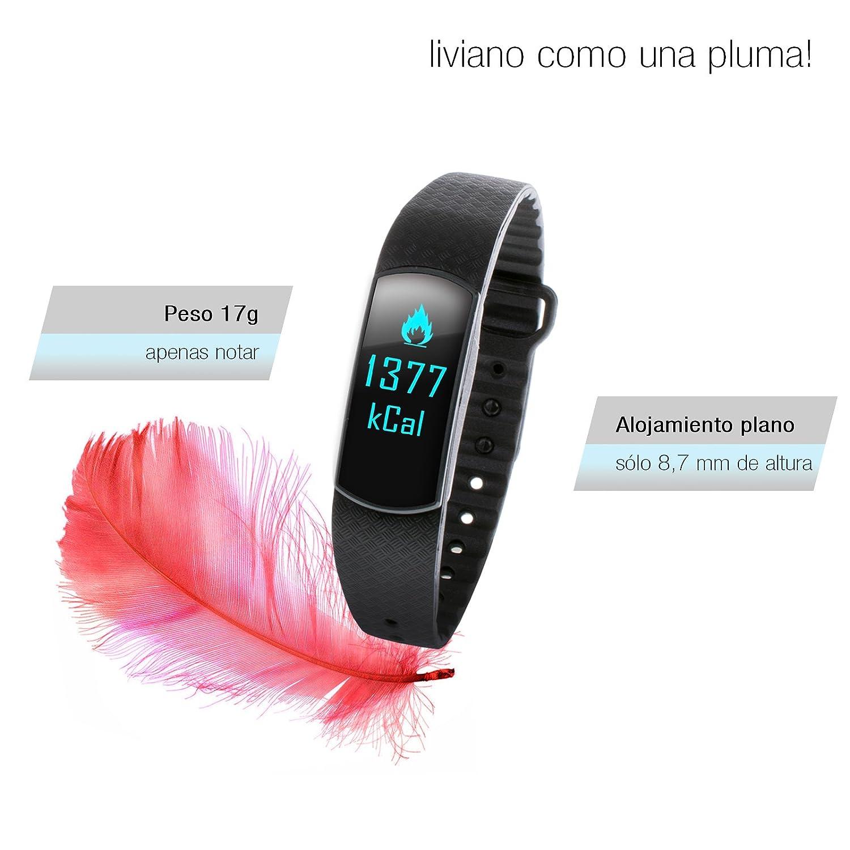 Pulsera deportiva Sportstech SW10 con pantalla OLED, Bluetooth,contador de pasos y calorías, rastreador de actividades y de horas de sueño,aplicación para ...