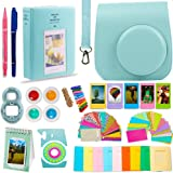 DNO Fujifilm Instax Mini 9/8 Camera Accessories (11 Piece Kit) - Includes Protective Case/ Hanging Frames/ Filters/ Selfie Len/ Photo Album/ Stickers and More - Portable & Perfect Gift (Ice Blue)