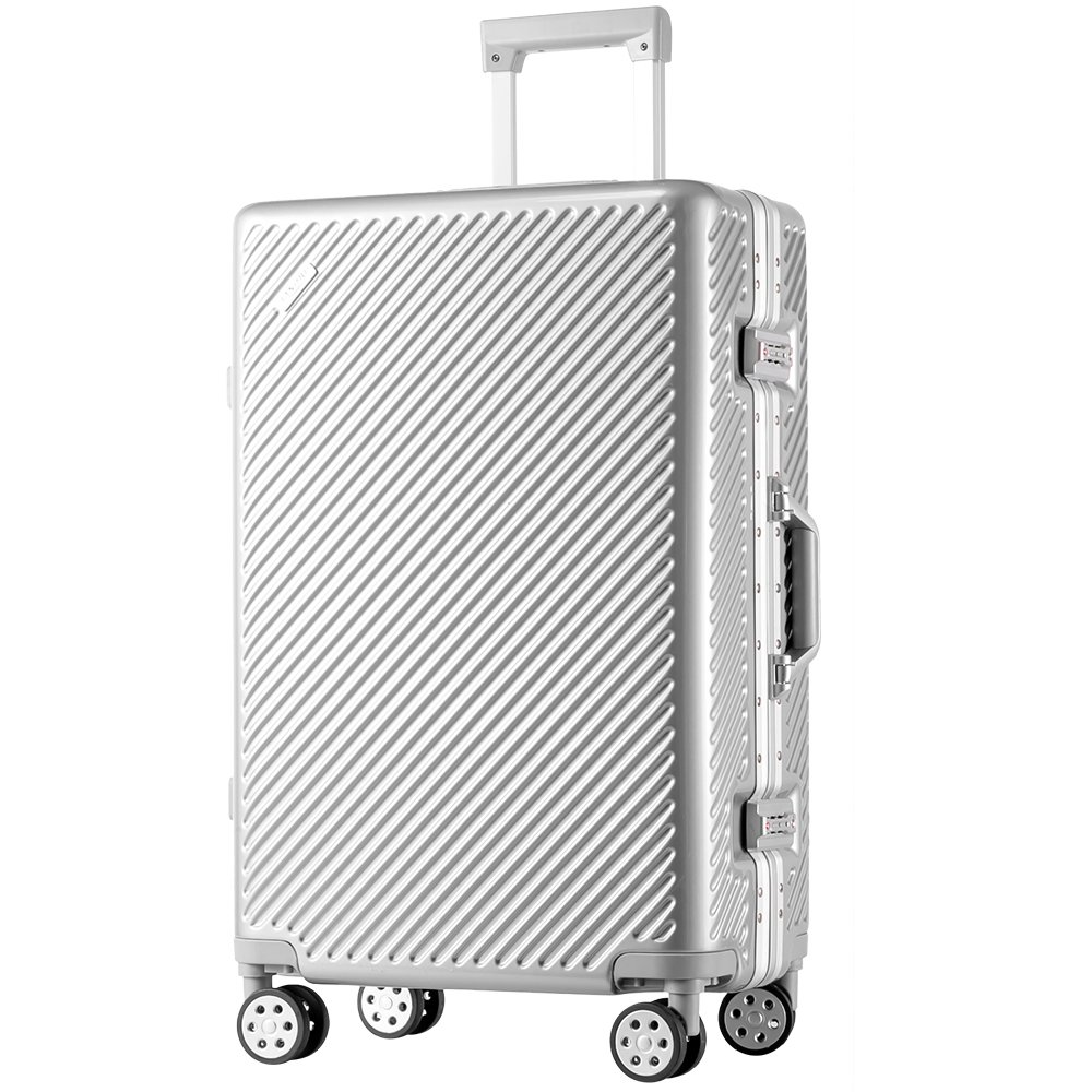 TANOBI スーツケース アルミフレーム TSAロック搭載 斜め縞模様 トラベルバッグ 1年保証 B078RGSR36 L|シルバー シルバー L