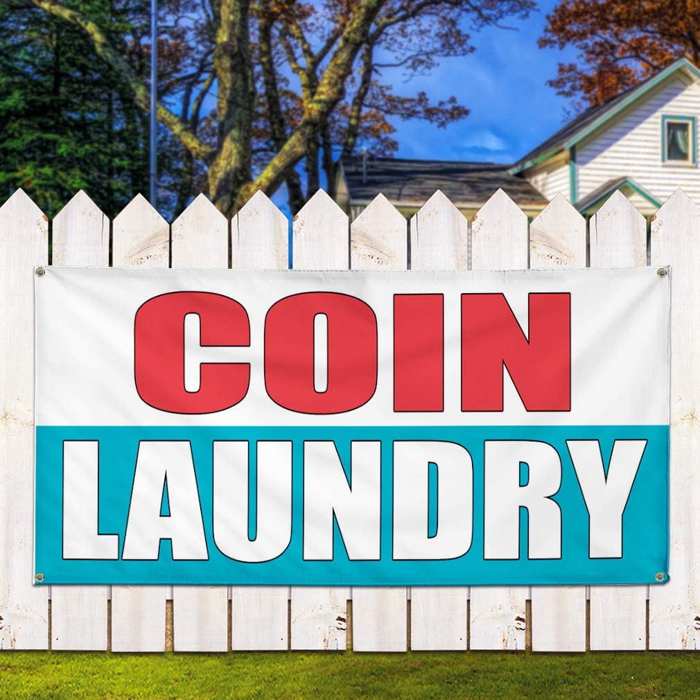 Set of 2 Vinyl Banner Sign Coin Laundry White Blue Business Outdoor Marketing Advertising White 32inx80in 6 Grommets Multiple Sizes Available