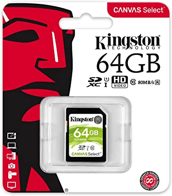 Kingston Canvas Select 64GB SDHC Class 10 SD Memory Card UHS-I 80MB/s R Flash Memory Card (SDS/64GB)