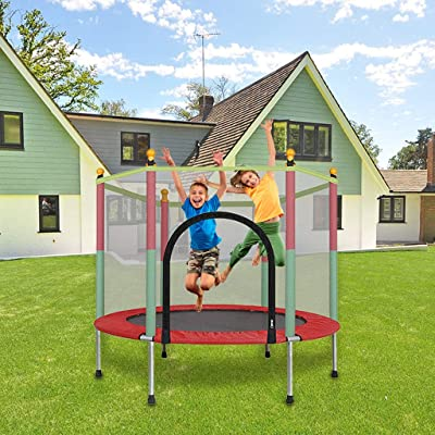 m·kvfa 5FT Kids Trampoline with Enclosure Net Jumping Mat and Spring Cover Padding Indoor Outdoor Yard Trampolines for Children : Sports & Outdoors