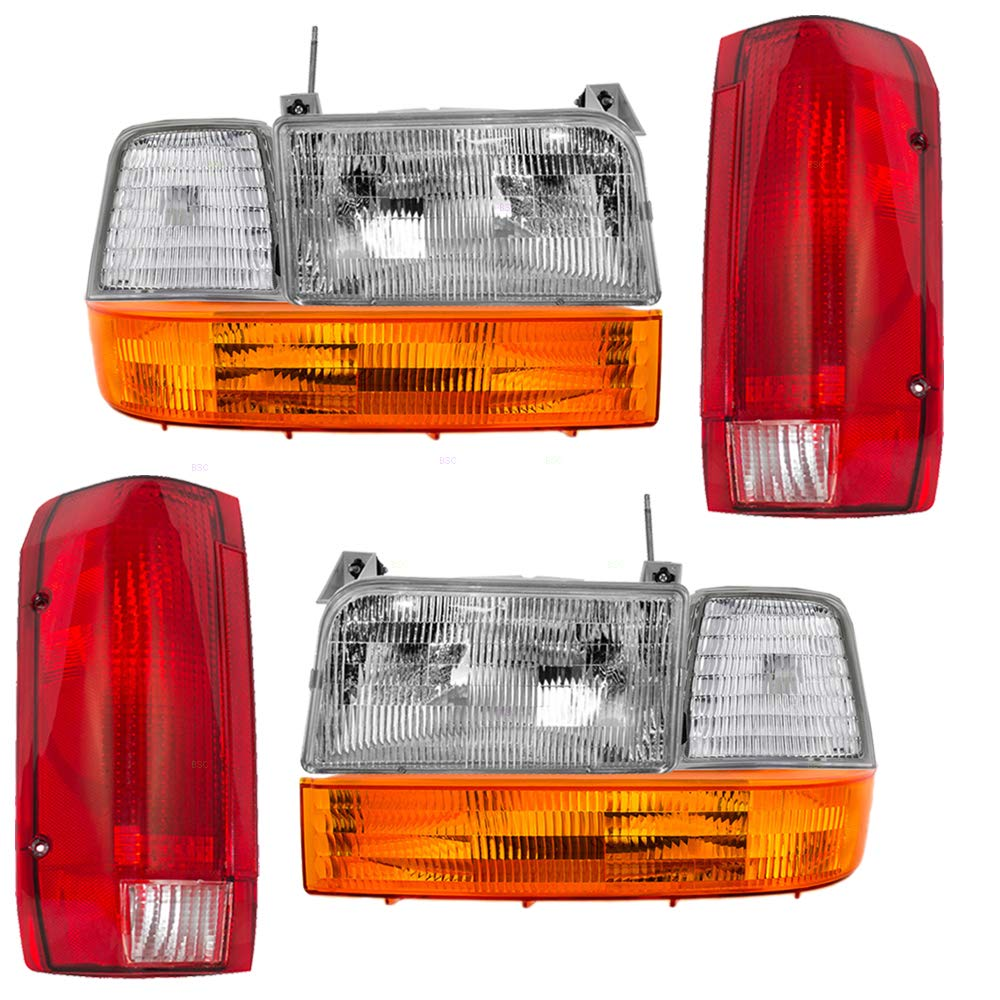 8 Pc Set Headlights, Taillights w/Park Signal Corner & Side Marker Lamps Replacement for Ford Bronco F150 F250 F350 Styleside Pickup Truck 4350366570