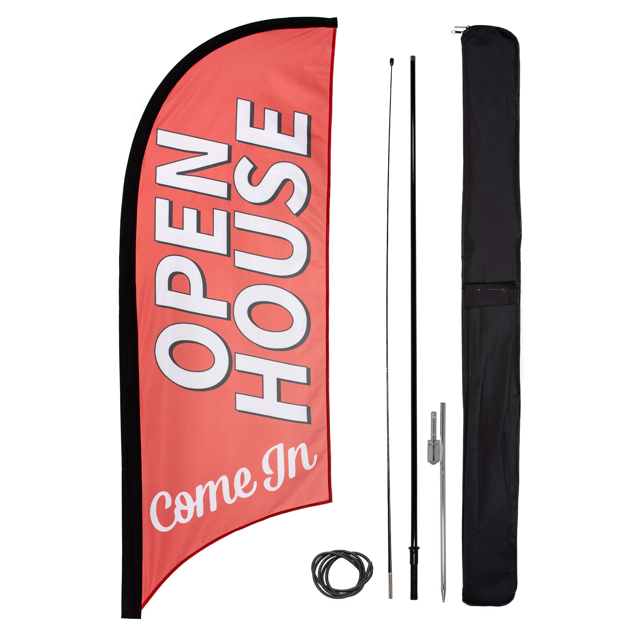 Open House Feather Flag Kit for Real Estate Agents | Includes Carrying Bag, Pole, and Ground Spike | 8 Ft Red Flag