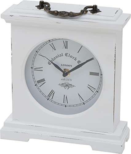 Iconic Colonial Mantel Clock, Roman Numerals, Quartz Movement, Vintage Style, Glass, White, Distressed Finish, Wood, Metal, 8 1 4 L x 2 1 2 W x 9 1 2 H Inches, 1AA Battery Not Included