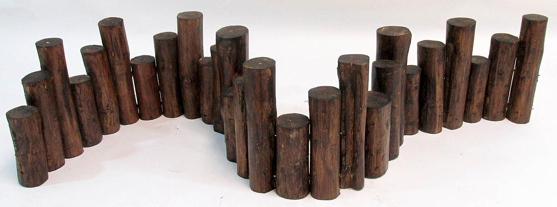 Master Garden Products Teak Wood Uneven Top Solid Log Edging, 60L 60L TE 48