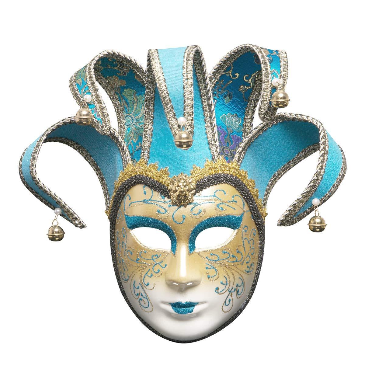 Sonmer Full Face Venetian Joker Masquerade Theater Mask, Mardi Gras Party Ball Mask (Light Blue)