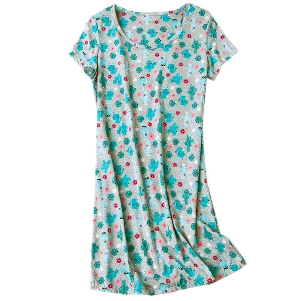 ENJOYNIGHT Womens\' Short Sleeve Nightgown Print Sleep Dress Cute Sleepwear (Large, Cactus-Cat)
