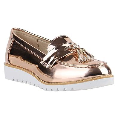 f11de09a07 Damen Slipper Loafers Quasten Lack Plateau Snake Plateau Slippers Loafer  Nieten Wedges Schuhe 139146 Rose Gold