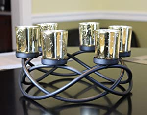Seraphic Centerpiece Table Tealight Candle Holder for Living Room Decor, Black, Gold Glass Votive 6 Cups
