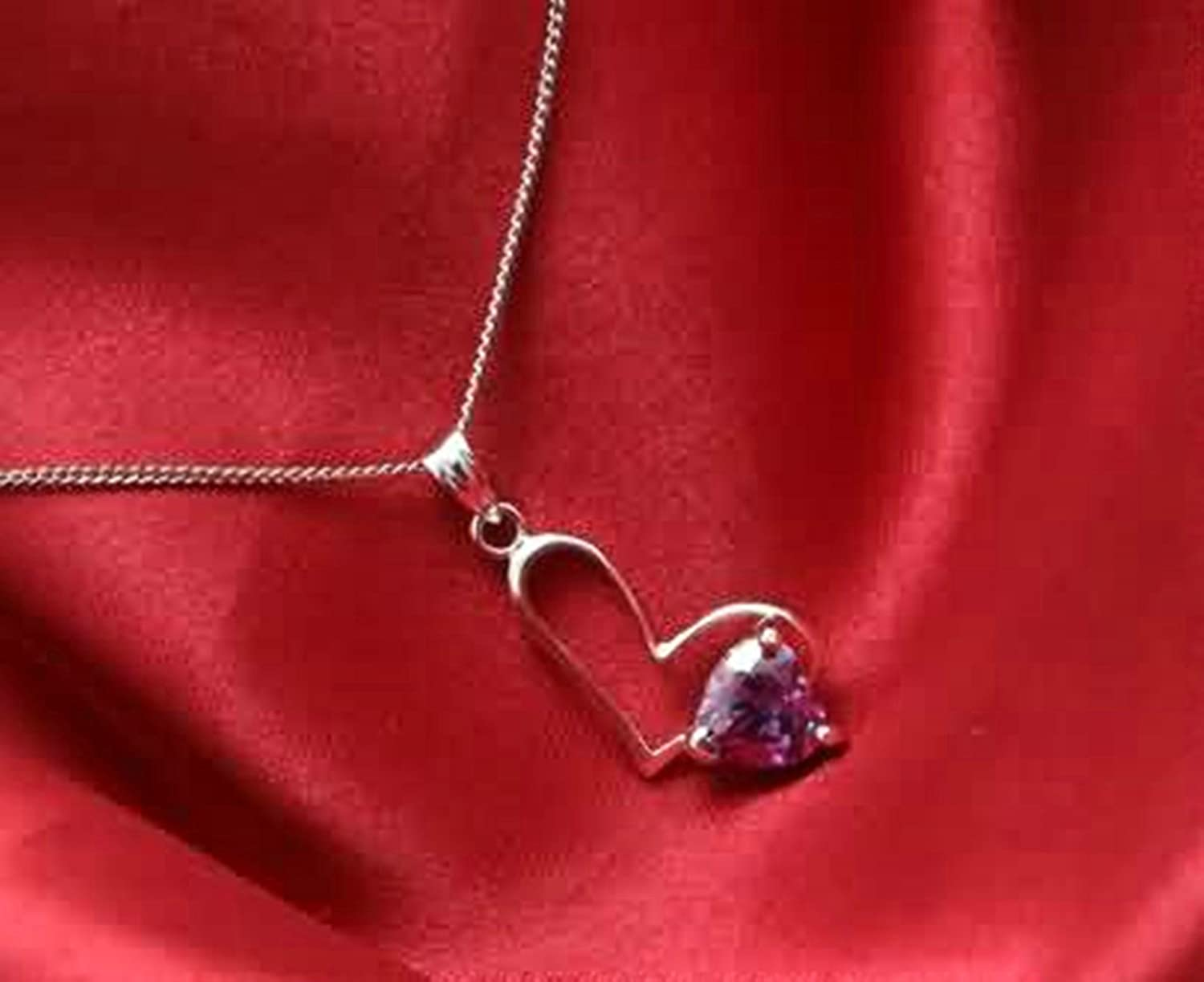AMDXD Jewelry Women Silver Plated Pendant Necklaces Heart Cubic Zirconia White 2.5X1.4CM