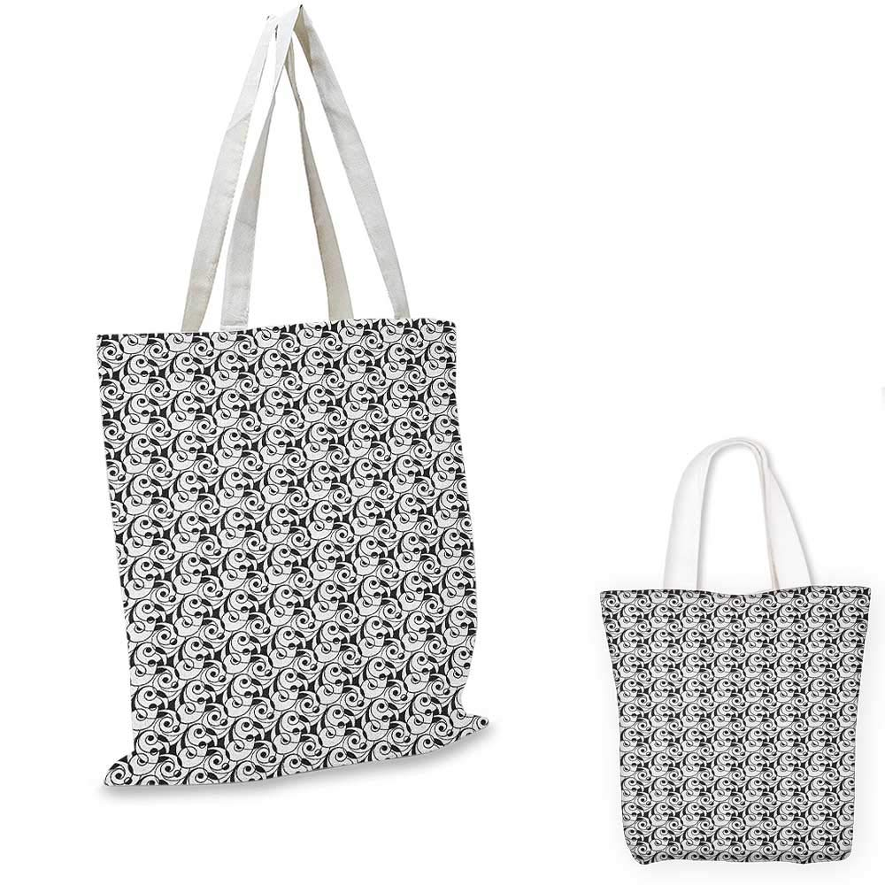 Black and White canvas messenger bag Monochrome Butterflies and Petals of Spring on Dotted Swirled Background canvas beach bag Black White 16x18-13