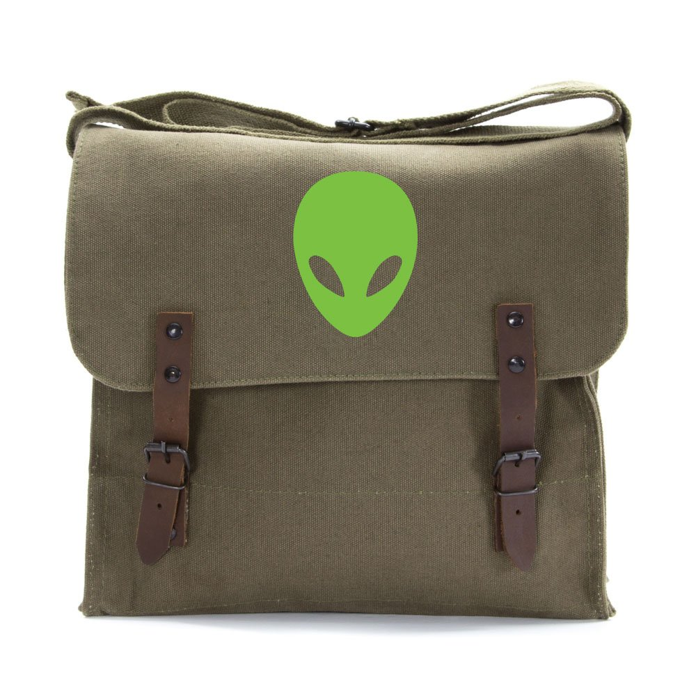 Sci-Fi Alien Head Army Heavyweight Canvas Medic Shoulder Bag in Olive /& Green