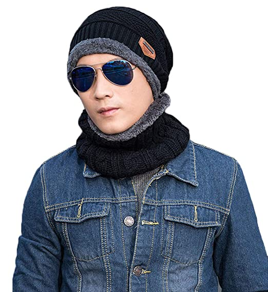 70175f5e7d8 Winter Warm Beanie Hat Scarf Set Crochet Knit Thick Fleece Lined Caps Scarf  Neck Warmer for