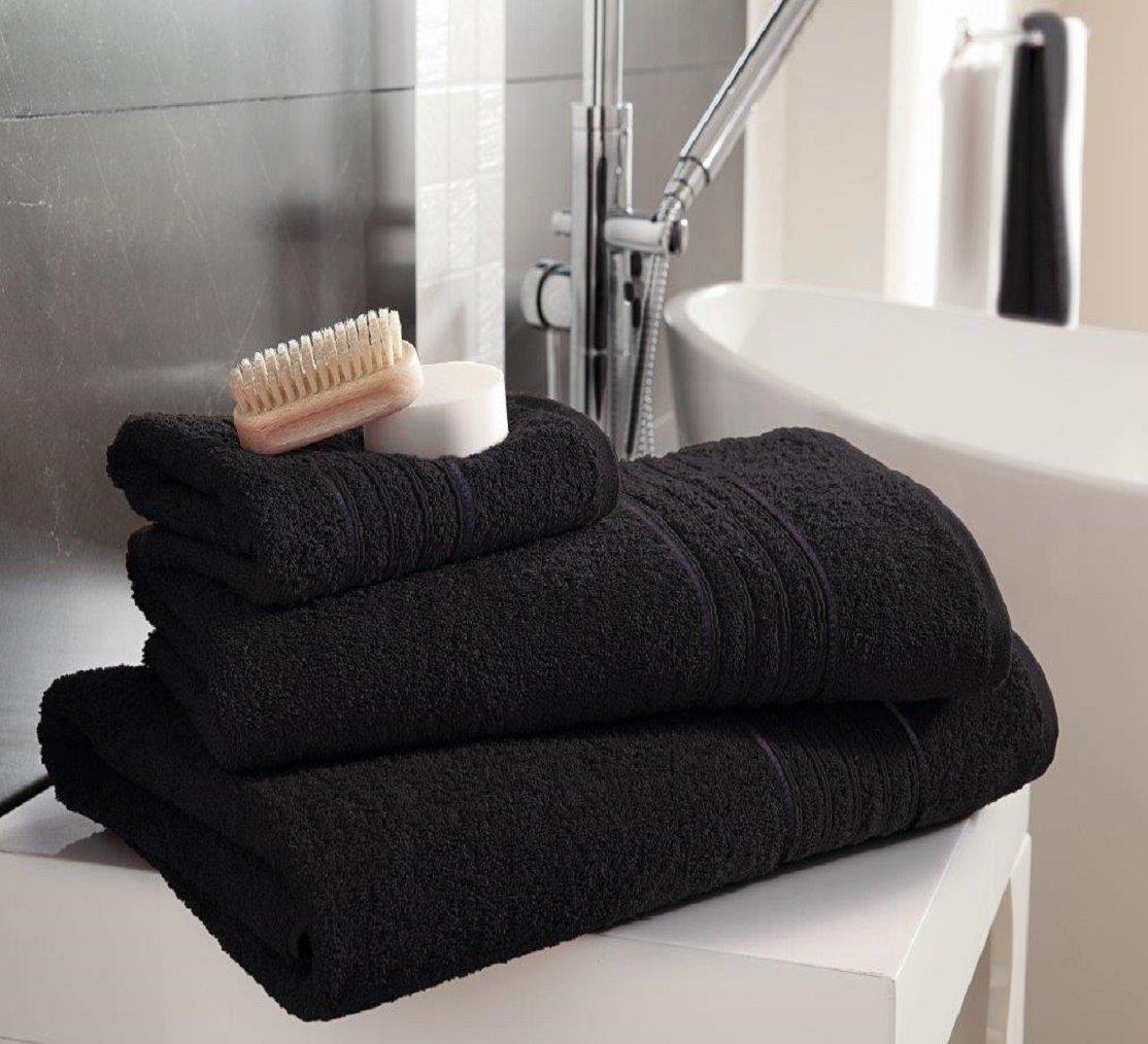 Soft Quest-Mart/® Luxurious 100/% Egyptian Cotton HAMPTON Towel Stylish Black, 4 x Bath Sheets And Beautiful Towels
