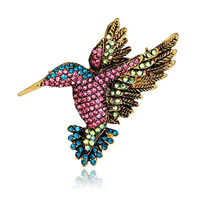 11fec784881 Amazon.com: Antique Hummingbird Brooches Vintage Crystal Tone Bird Brooch  Pins for Women: Jewelry