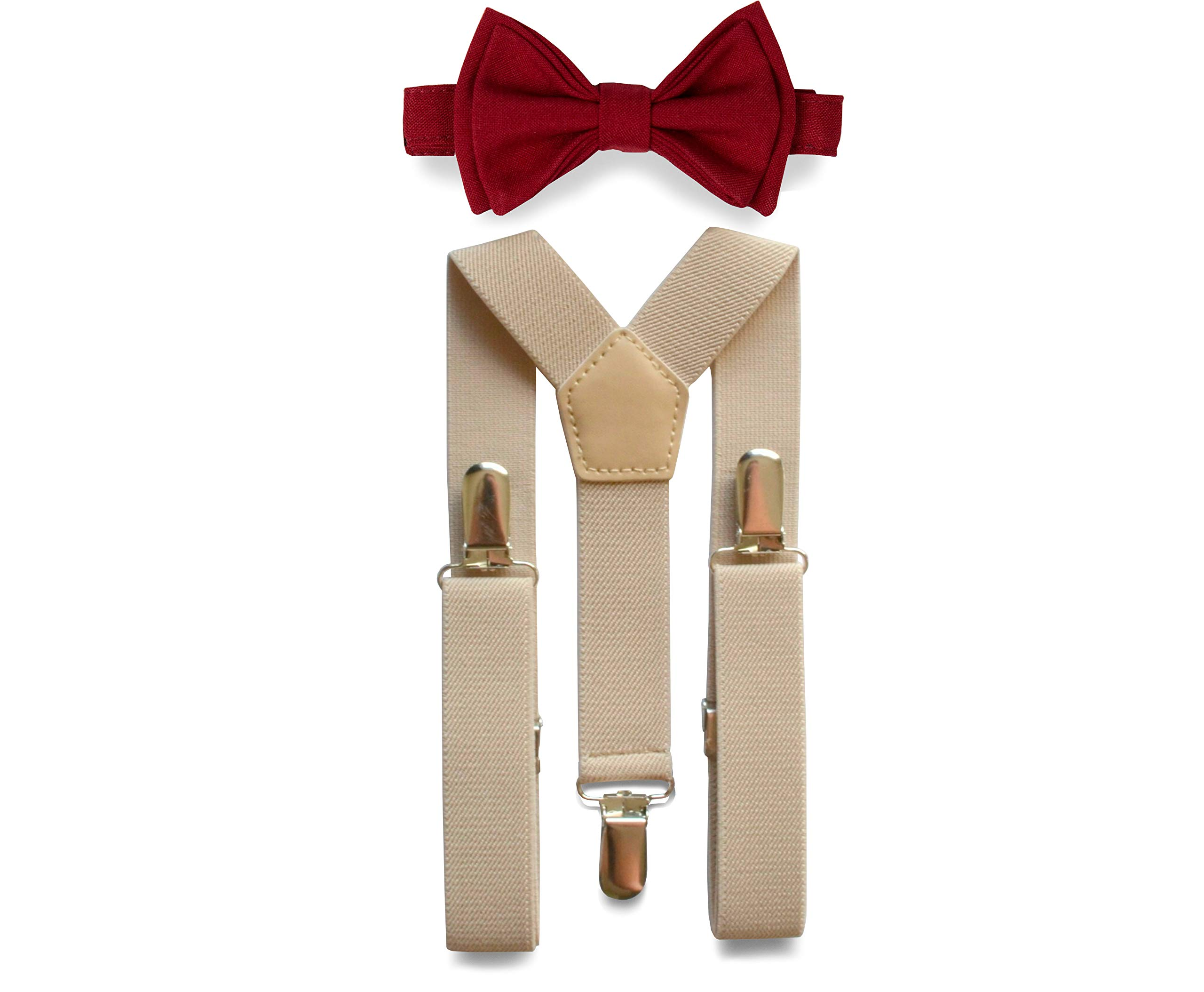 Tan Suspenders & Bow Tie Set for Baby Toddler Boy Teen Men (5. Adult (5'8'' - 6'8''), Tan Suspenders, Burgundy Bow Tie) by Armoniia