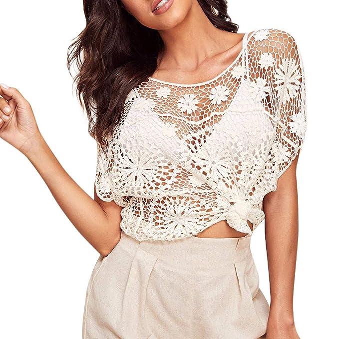 FELZ Blusas de Mujer Elegantes, Camiseta para Mujer, Blusa de Manga Corta con Volantes de Encaje sólido para Mujer Blusa: Amazon.es: Ropa y accesorios