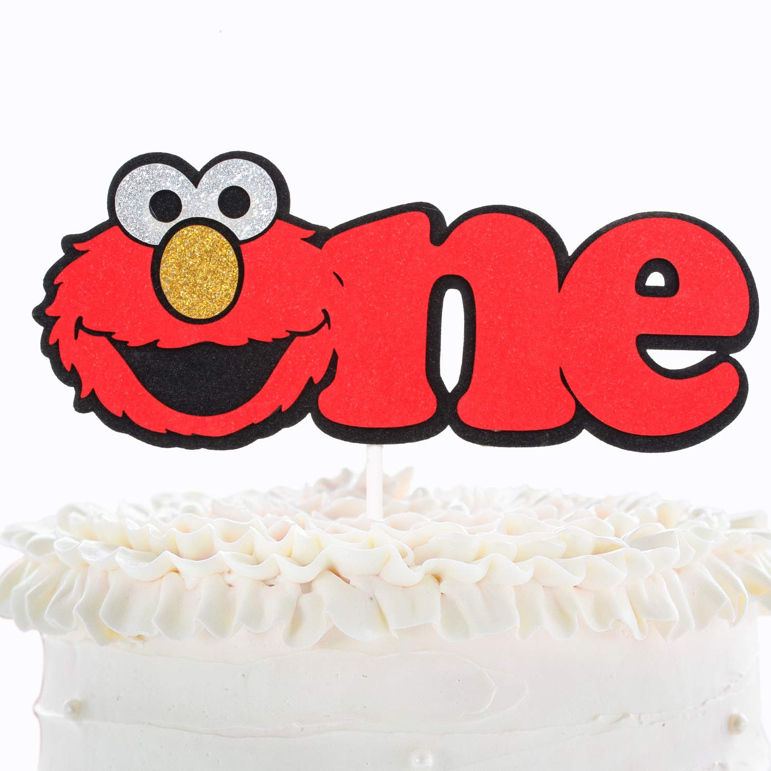Elmo One Birthday Party Cake Topper Sesame Street Elmo Glitter Baby S 1st Birthday Cake Decor Novelty Wild One Year Old Baby Shower Decoration
