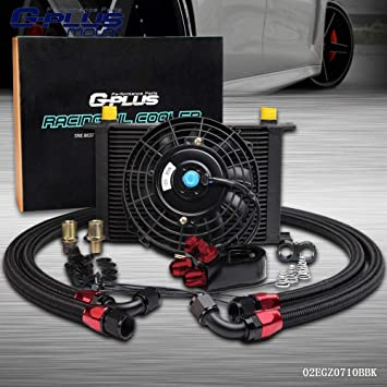 """Universal 25 Row 10AN Engine Transmission Oil Cooler KIT 7/"""" Electric Fan Kit"""