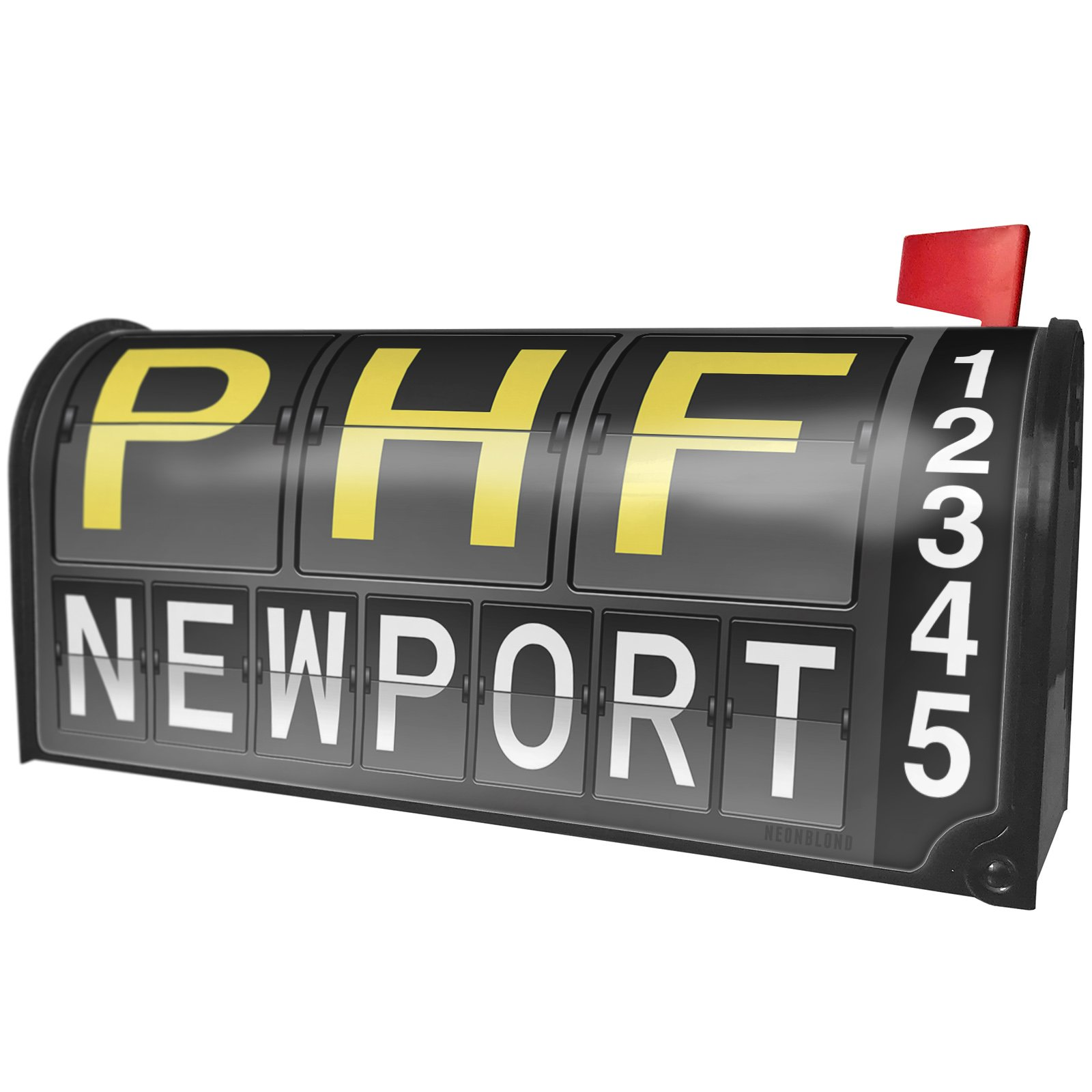NEONBLOND PHF Airport Code for Newport Magnetic Mailbox Cover Custom Numbers