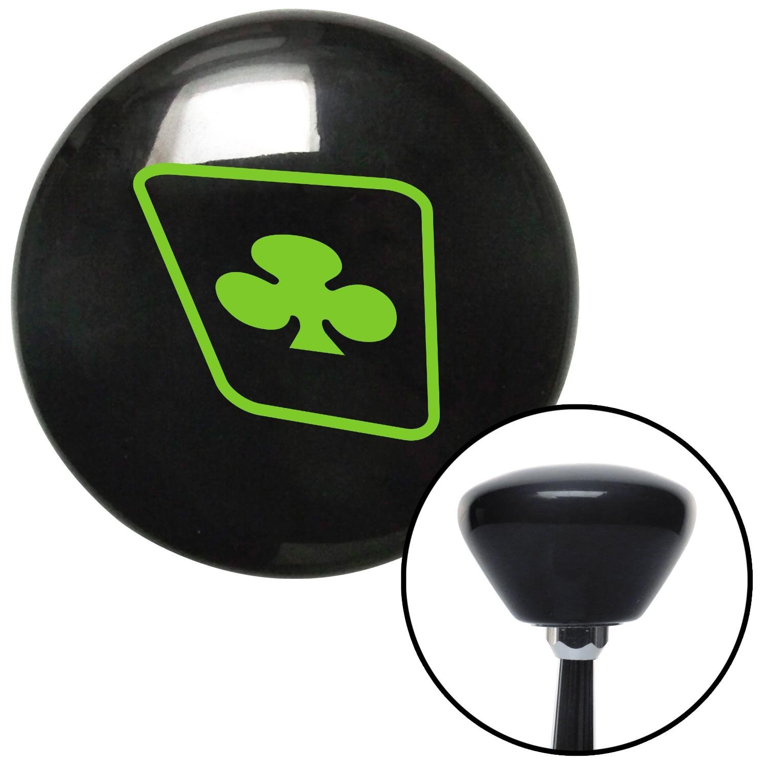 American Shifter 144393 Black Retro Shift Knob with M16 x 1.5 Insert Green Clubs on a Card