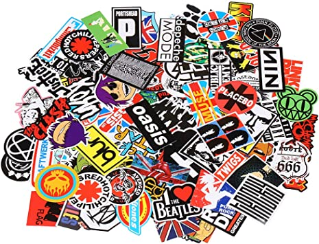 Band Stickers 100pcs Rock And Roll Music Stickers Pack Vinyl Waterproof Stickers For Electronic Organ Guitar Piano Violin Drum Kit Flute Brass