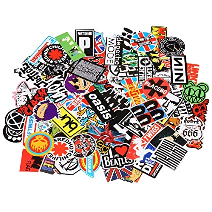 Band Stickers [100PCS] Rock and Roll Music Stickers Pack Vinyl Waterproof  Stickers for Electronic Organ Guitar Piano Violin Drum kit Flute Brass