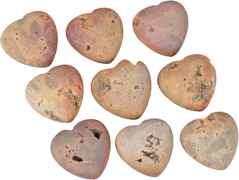 Healing Crystal Love Stone for Home Decoration 45mm Nupuyai Carnelian Heart Palm Worry Stone for Chakra Reiki