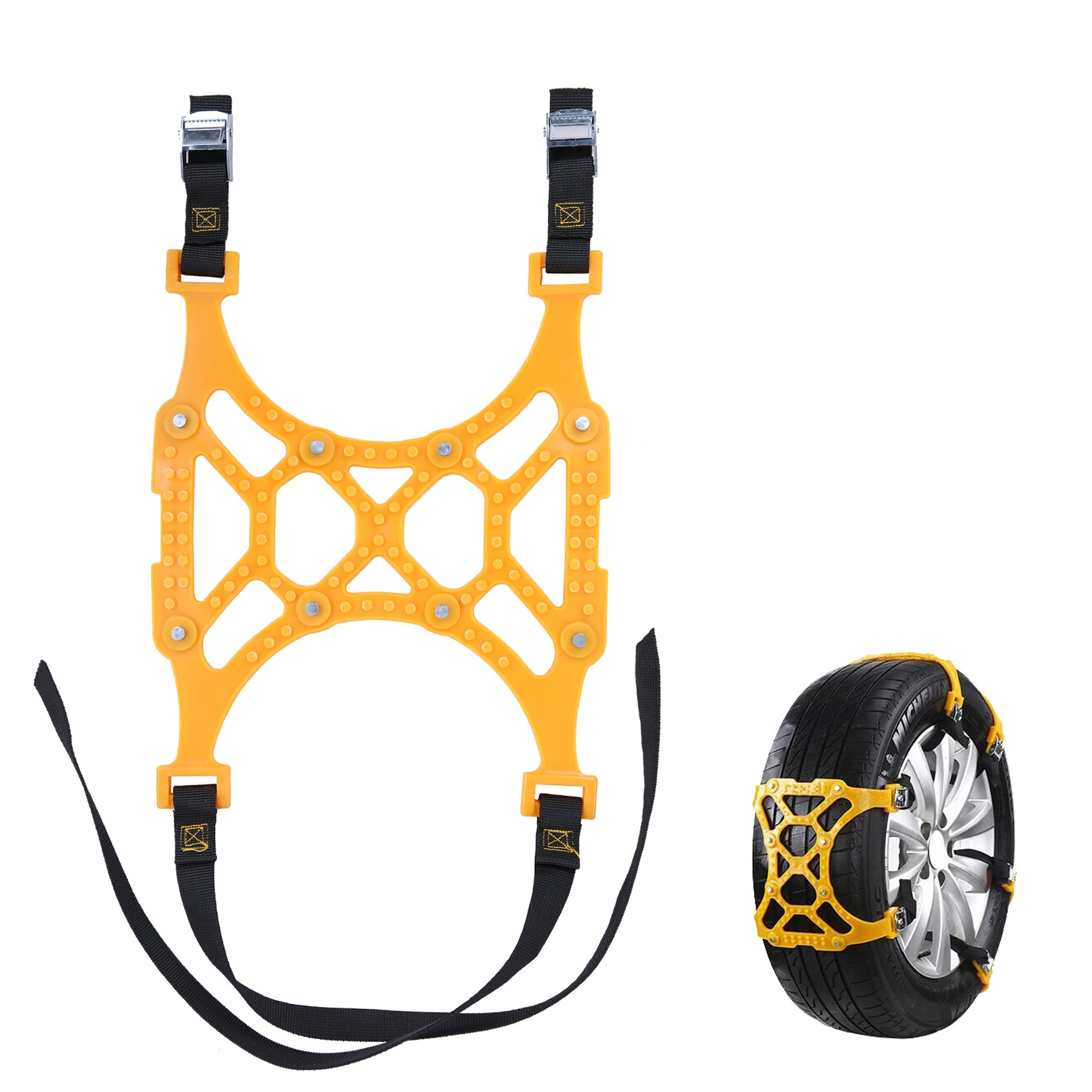 Leadallway Two Tires 6PC Car Tire Chains Double Snap Anti-slip Chain Snow Tires Tendon Thickened Anti-skid chain Fit for Most Truck/Car/SUV