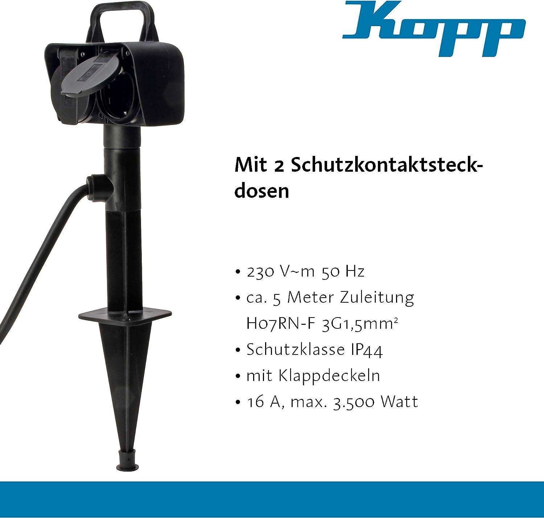 Toma de corriente exterior con 2 enchufes de protecci/ón de contacto 230 V I Jard/ín de exterior con cable de 1,5 m I Estaca de jard/ín enchufe exterior Kopp