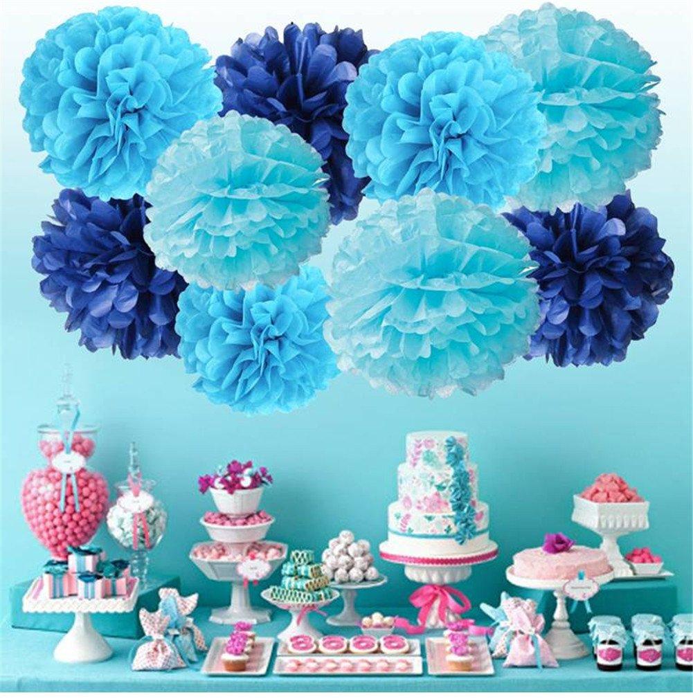 Creny Papel Pom Poms cumplea/ños decoraciones para fiestas 9 Piezas Bola decorativa /& 9 Piezas Ganchos de pared /& 2m de cuerda Adecuado para bodas festivales