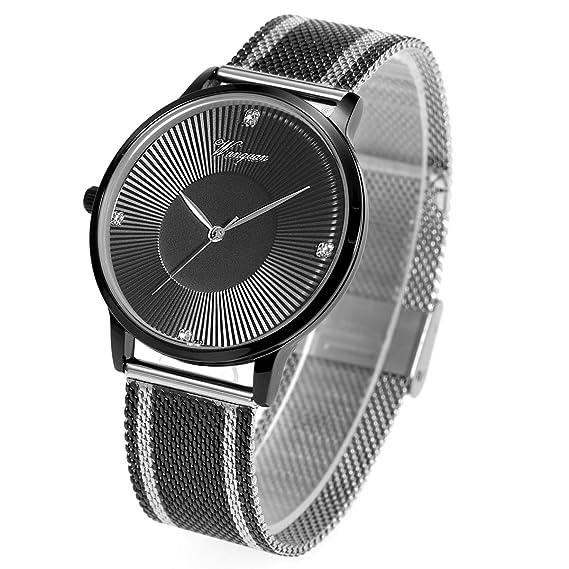 VATENZONE Reloj de Pulsera para Hombres Ultra-Delgada Moda Minimalista japonés de Cuarzo 30m Impermeable Negro Cristal dial Acero Inoxidable Correa: ...