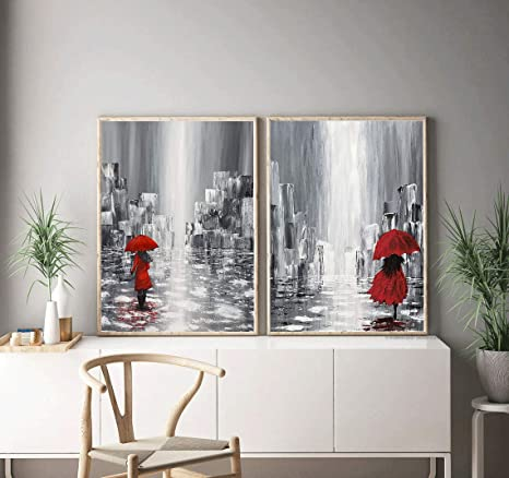 Amazon Com Romantic Wall Art Couple In Love Under Red Umbrella Art Painting Set Of 2 8 X10 Canvas Picture Minimalist Art Set Bedroom Wall Art Prints Wall Art Quotes Marriage Room Home Decor