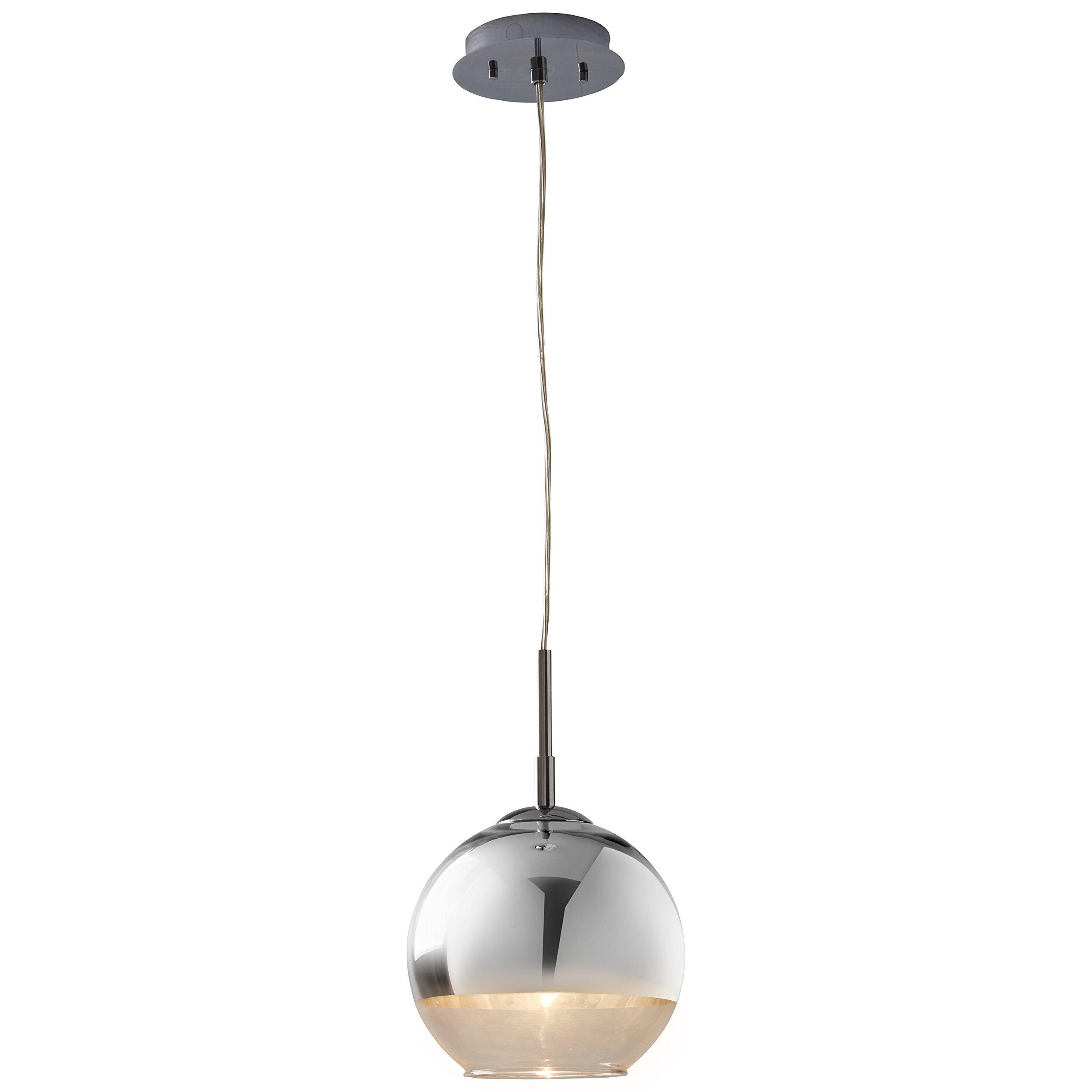 Rivet Hugh Pendant With Bulb, 13'' to 61''H, Chrome and Glass