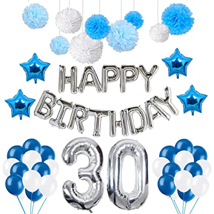 Amazon Puchod 30 Birthday Decorations Happy Balloons