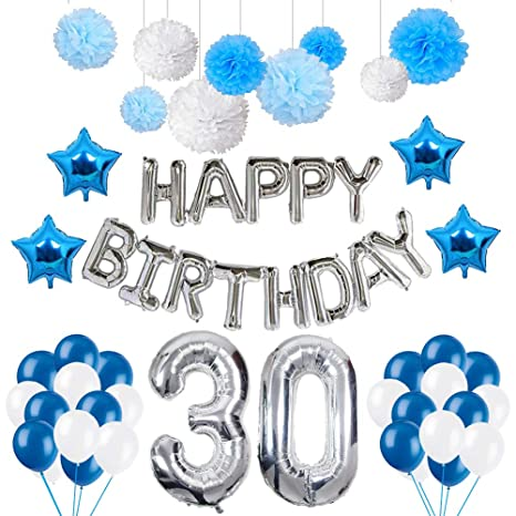 Puchod 30 Birthday Decorations, Happy Birthday Balloons Party Supplies Kit Blue & White 30 Latex Balloons Foil Star Balloon Paper Pom Poms for Men
