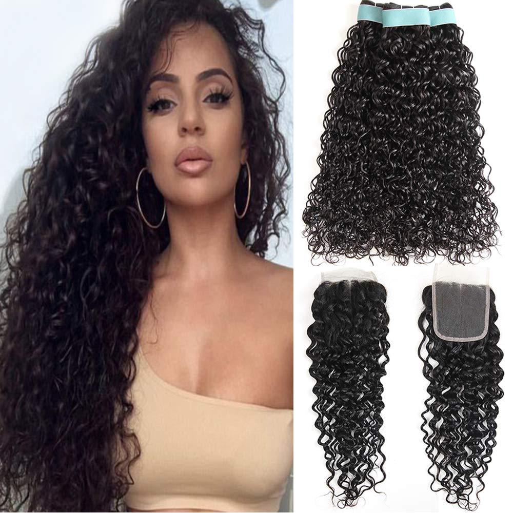 Brazilian Water Wave Virgin Hair 3 Bundles with Free Part Closure Natural Black(20 22 24+18, Natural Color)