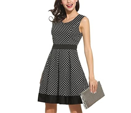 Hogonta Vintage Dress Lady Summer Retro 1950S 60S Big Swing Women Tunic Short Fit and Flare