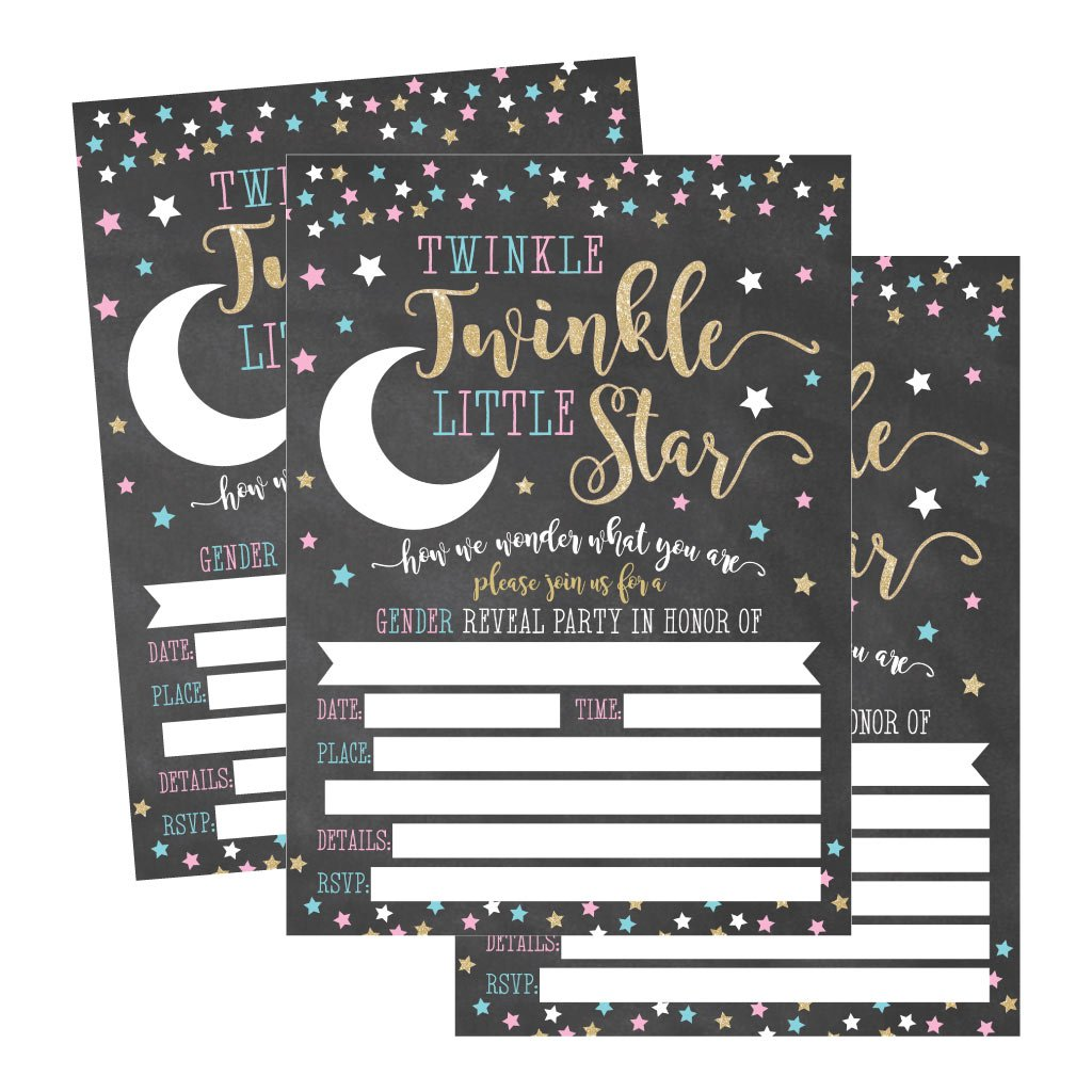 25 Twinkle Little Star Gender Reveal Baby Shower Party Invitation Cards Gold and Black He or She For Gender Neutral Unisex Invites Guess If It's a Boy or Girl Sprinkle Fill In The Blank Printable Pack