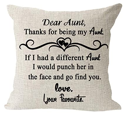 Amazoncom Aunt Gift Thank For Be My Aunt Quote Cotton Linen Square