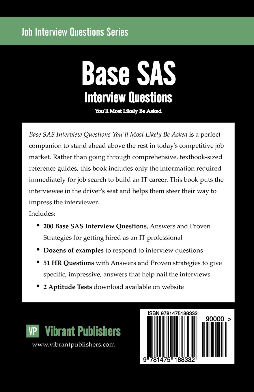 base sas interview questions youll most likely be asked amazonin vibrant publishers books